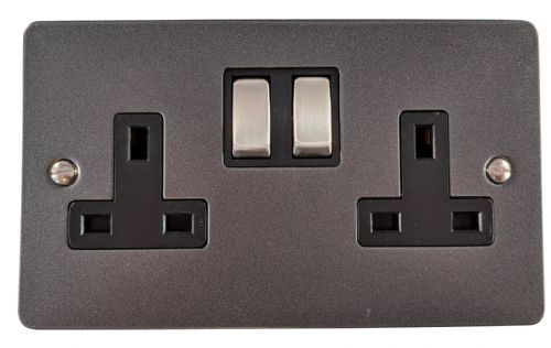 G&H FP310 Flat Plate Pewter 2 Gang Double 13A Switched Plug Socket